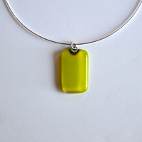 LIME pendant with sterling silver neck wire