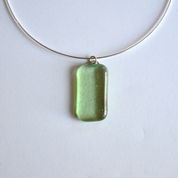GREEN TEA pendant with sterling silver neck wire